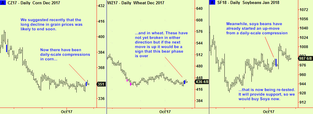Corn, wheat, beans daily comps